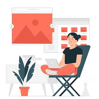 Ilustracja koncepcja przeglądarki obrazu