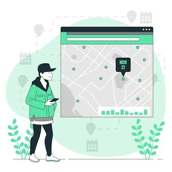 Ilustracja koncepcja przeglądu lokalizacji