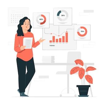 Ilustracja koncepcja przeglądu postępu