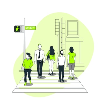 Ilustracja koncepcja przejścia dla pieszych