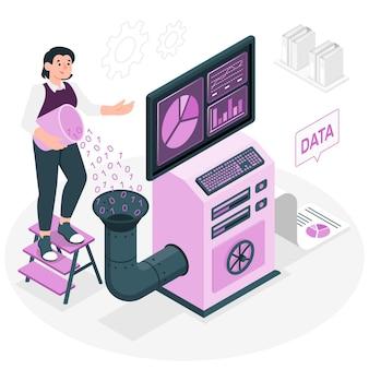 Ilustracja koncepcja przetwarzania danych