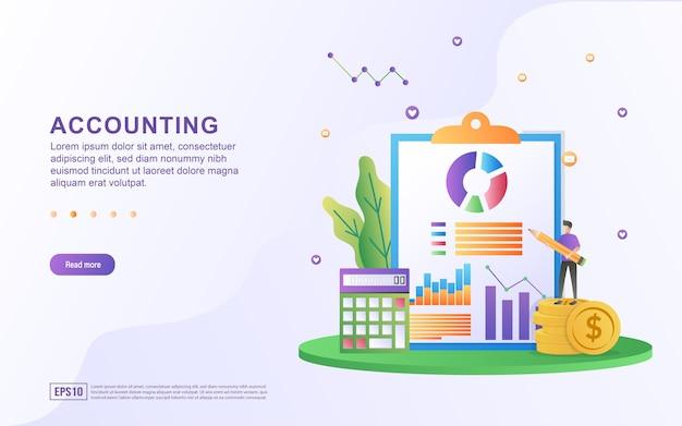 Ilustracja koncepcja rachunkowości z osobami sprawdzającymi statystyki dla banera