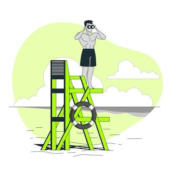 Ilustracja koncepcja ratownik na plaży