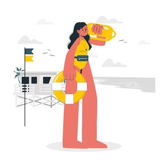 Ilustracja koncepcja ratownik plaży