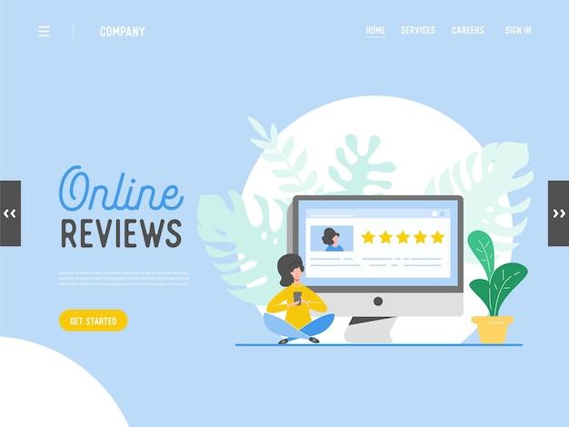 Ilustracja koncepcja recenzji szablonu strony docelowej. postać kobiety pisząca dobre opinie ze złotymi gwiazdami. usługi w zakresie stawek klienta dla witryny lub strony internetowej. pięć gwiazdek pozytywna opinia.