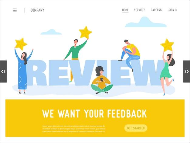 Ilustracja koncepcja recenzji szablonu strony docelowej. postacie kobiety i mężczyzny piszą dobre opinie ze złotymi gwiazdami. usługi w zakresie stawek klienta dla witryny lub strony internetowej. pięć gwiazdek pozytywna opinia.