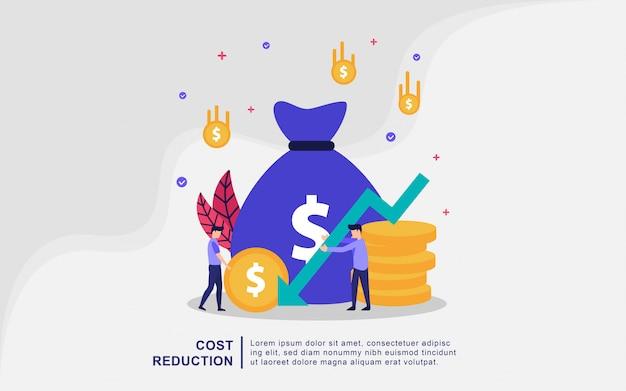 Ilustracja koncepcja redukcji kosztów z malutkimi ludźmi