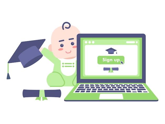 Ilustracja koncepcja rejestracji planu edukacji dziecka