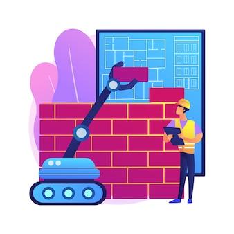 Ilustracja koncepcja robotyki budowy abstrakcyjna. robotyka, sztuczna inteligencja w budownictwie, automatyzacja fabryk, roboty budowlane, maszyny samochodowe.