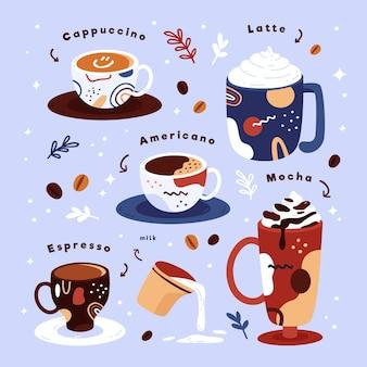Ilustracja koncepcja rodzajów kawy