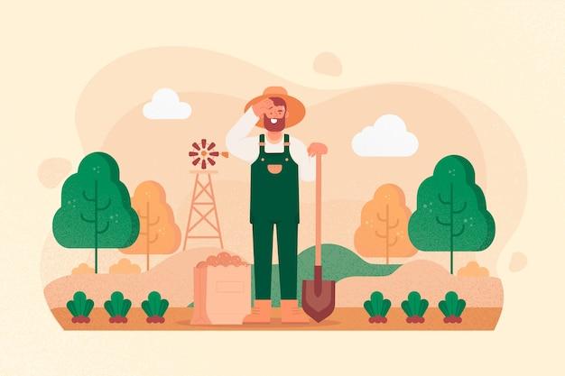 Ilustracja koncepcja rolnictwa ekologicznego człowieka
