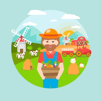 Ilustracja koncepcja rolnictwa ekologicznego