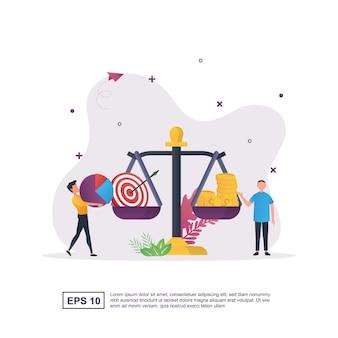 Ilustracja koncepcja równowagi biznesowej ze stabilną skalą.