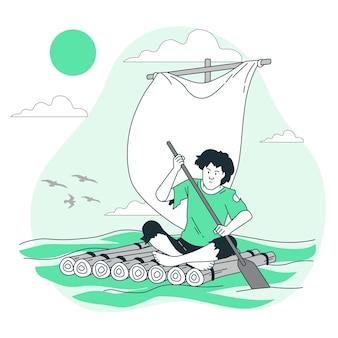 Ilustracja koncepcja rozbitka statku