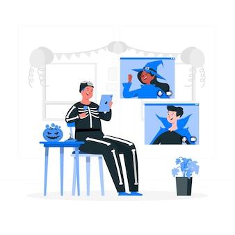Ilustracja koncepcja rozmowy wideo na halloween