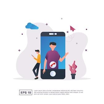 Ilustracja koncepcja rozmowy wideo z osobą na ekranie.