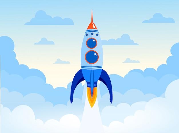 Ilustracja koncepcja rozruchu firmy rakiety kosmicznej. rakietowy statek na niebie z chmurami w płaskim projekcie.