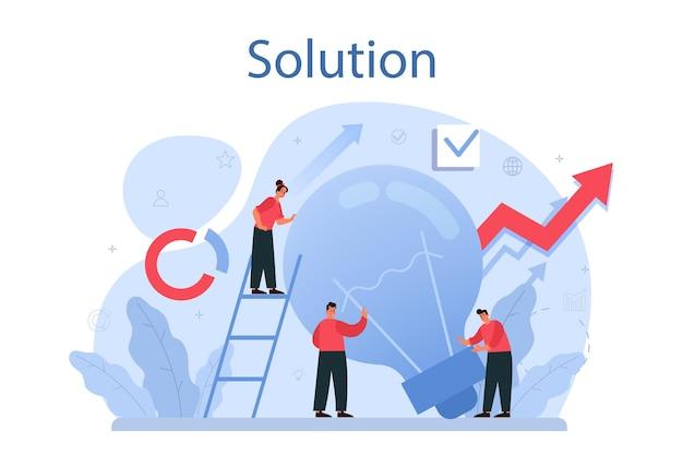 Ilustracja koncepcja rozwiązania. rozwiązanie problemu i znalezienie kreatywnego rozwiązania. ludzie biznesu wychodzą naprzeciw wyzwaniom w pracy zespołowej.