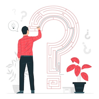 Ilustracja koncepcja rozwiązywania problemów (labirynt)