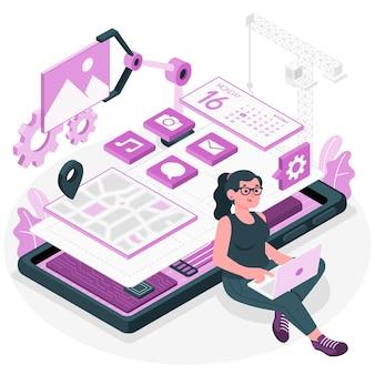 Ilustracja koncepcja rozwoju mobilnego
