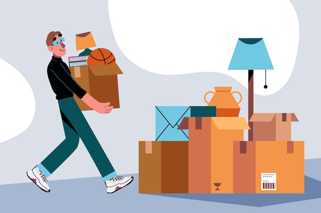 Ilustracja koncepcja ruchu w domu