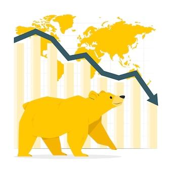 Ilustracja koncepcja rynku niedźwiedzi