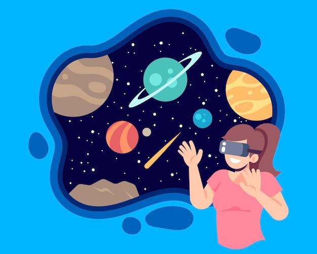 Ilustracja koncepcja rzeczywistości wirtualnej