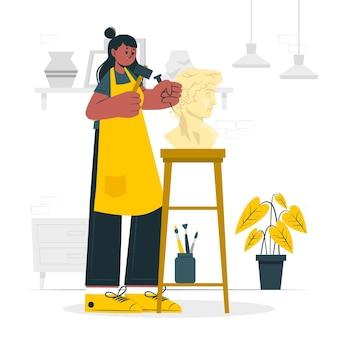 Ilustracja koncepcja rzeźbienia