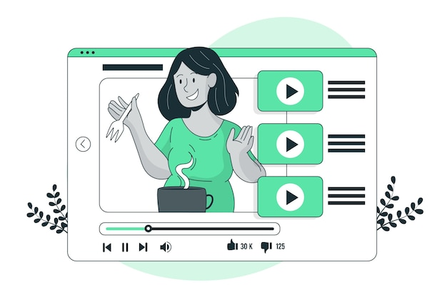 Ilustracja koncepcja samouczka youtube