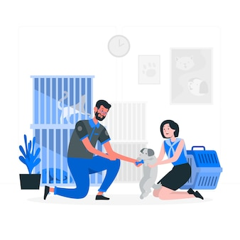 Ilustracja koncepcja schroniska dla zwierząt