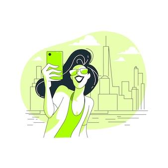 Ilustracja koncepcja selfie