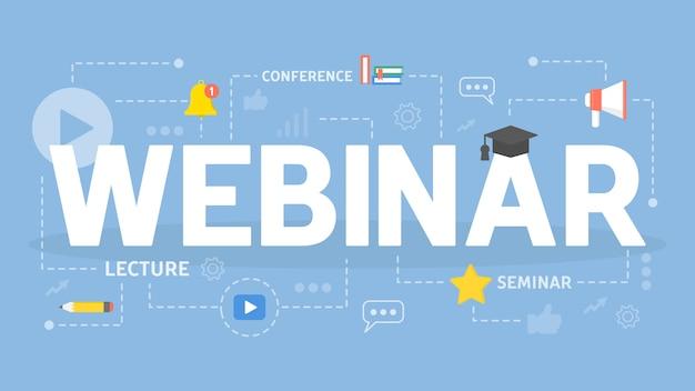 Ilustracja koncepcja seminarium internetowego. idea edukacji online.