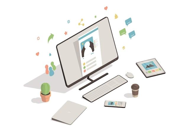 Ilustracja koncepcja sieci społecznej