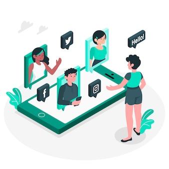 Ilustracja koncepcja sieci społecznościowych