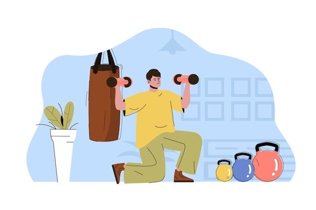 Ilustracja koncepcja sieci treningu ciała z postacią płaskich ludzi