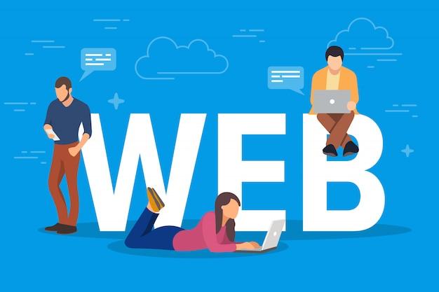 Ilustracja koncepcja sieci web. młodzi ludzie używający gadżetów mobilnych, takich jak tablet pc i smartfon, do przeglądania stron internetowych w internecie