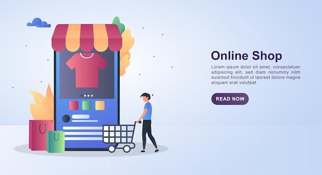Ilustracja koncepcja sklepu internetowego z ludźmi pchającymi wózki na zakupy.