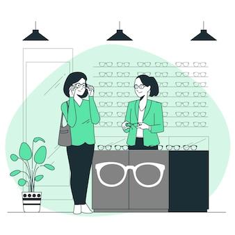Ilustracja koncepcja sklepu optycznego