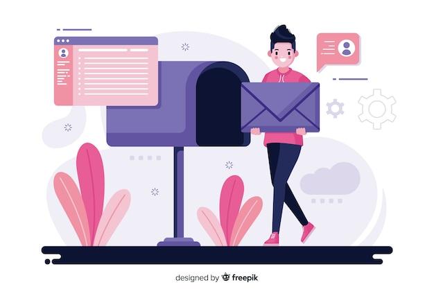 Ilustracja koncepcja skrzynki pocztowej