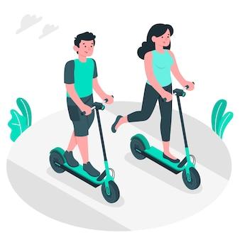 Ilustracja koncepcja skuter