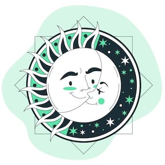 Ilustracja koncepcja słońca i księżyca