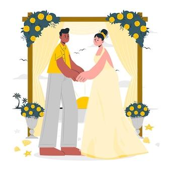 Ilustracja koncepcja ślub na plaży