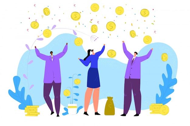 Ilustracja koncepcja spadające pieniądze. bankowość przynosi sukces finansowy i dobrobyt. deszcz z waluty i dolarów lejący się na ludzi. kobieta i mężczyzna łapią monety i złoto.