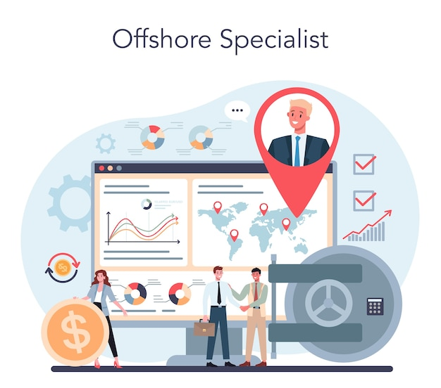 Ilustracja koncepcja specjalisty lub firmy offshore