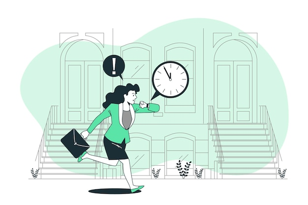 Ilustracja koncepcja spóźnienia