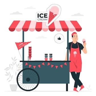 Ilustracja koncepcja sprzedawca lodów