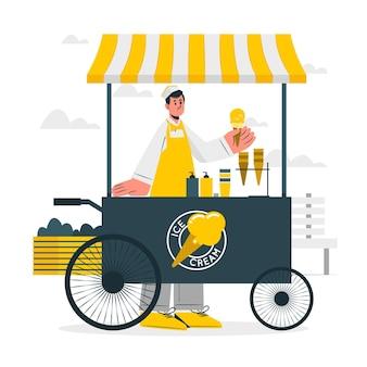 Ilustracja koncepcja sprzedawcy lodów