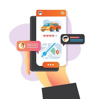 Ilustracja koncepcja sprzedaży samochodu online