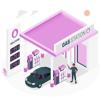 Ilustracja koncepcja stacji paliw
