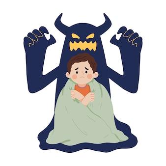 Ilustracja koncepcja strachu dziecka przed cieniami ducha